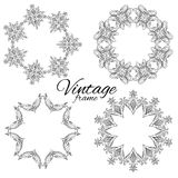 Set of vintage round floral frames with space for text. Stock Photos