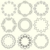 Set of vintage round frames of whorls. Royalty Free Stock Images