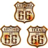 Set of vintage route 66 road signs. Vintage route 66 road signs. Retro style,  illustration Royalty Free Stock Photography