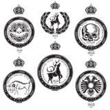 Set of vintage royal elements from belt and wreath with animal inside. Heraldic vintage label vector illustration