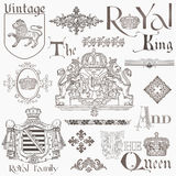 Set of Vintage Royalty Design Elements Stock Photography