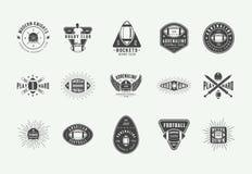 Set of vintage rugby and american football labels, emblems, badges and logo. Vector illustration stock illustration