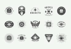 Set of vintage rugby and american football labels, emblems, badges and logo. Vector illustration vector illustration