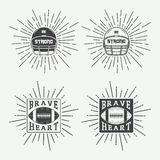 Set of vintage rugby and american football labels, emblems and l Stock Images