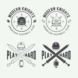 Set of vintage rugby and american football labels, emblems and l Royalty Free Stock Photography