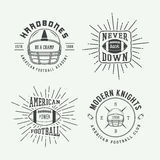 Set of vintage rugby and american football labels, emblems and l Royalty Free Stock Image
