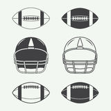 Set of vintage rugby and american football labels, emblems, logo Royalty Free Stock Photos