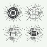 Set of vintage rugby and american football labels, emblems and logo Stock Photos