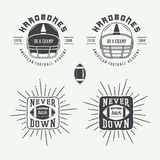Set of vintage rugby and american football labels, emblems and logo Stock Photography