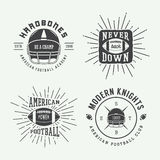 Set of vintage rugby and american football labels, emblems Stock Images