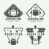Set of vintage rugby and american football labels, emblems and logo. Vector illustration Royalty Free Stock Photo