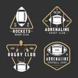 Set of vintage rugby and american football labels, emblems. And logo. Vector illustration Royalty Free Stock Photography