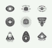 Set of vintage rugby and american football labels, emblems and logos. Set of vintage rugby and american football labels, emblems and logo. Graphic Design. Vector Royalty Free Stock Photography