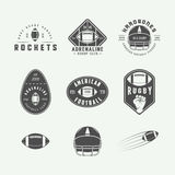 Set of vintage rugby and american football labels, emblems and logos. Set of vintage rugby and american football labels, emblems and logo. Graphic Design. Vector Royalty Free Stock Images