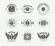 Set of vintage rugby and american football labels, emblems and logos Stock Images