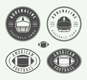 Set of vintage rugby and american football labels, emblems and logos Royalty Free Stock Images