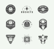 Set of vintage rugby and american football labels, emblems and logos. Set of vintage rugby and american football labels, emblems and logo. Vector illustration Stock Photo