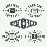 Set of vintage rugby and american football labels, emblems and logos Royalty Free Stock Image