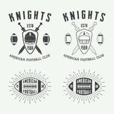 Set of vintage rugby and american football labels, emblems and logos Stock Image