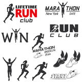 Set of vintage run club labels Stock Image