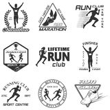 Set of vintage run club labels Stock Photography