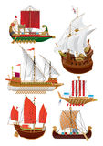 Set of vintage sailboats Stock Images