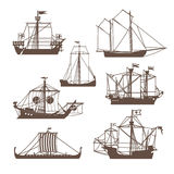 Set of vintage sailing ships. Vector illustration  on white Royalty Free Stock Images