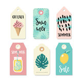 Set of vintage sale and gift tags and labels. Summer tropical design with drink in mason jar, ice cream and palm leaves Stock Photo