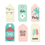 Set of vintage sale and gift tags and labels. Summer tropical design with palm, watermelon, and popsicles. Isolated. Set of vintage sale and gift tags and labels Stock Photos
