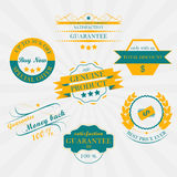 Set of vintage sale labels, stickers and ribbons. Retro design. Royalty Free Stock Photography