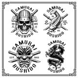 Samurai mini set for white background. Set of vintage samurai emblems, shirt graphics. Text is on the separate layer  VERSION FOR WHITE BACKGROUND Royalty Free Stock Images