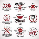 Set of Vintage Sausage Labels or Signs With Retro Royalty Free Stock Images