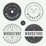 Set of vintage sawmills labels, emblems, logo, badges and design elements. Set of vintage sawmills vector labels, emblems, logo, badges and design elements Royalty Free Stock Photography