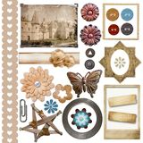 A set of vintage scrap elements Royalty Free Stock Images