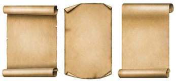 Set of vintage scrolls or parchments isolated on white background Stock Image