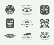 Set of vintage scuba diving logos, labels, badges and emblems. Royalty Free Stock Images