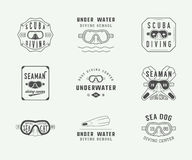 Set of vintage scuba diving logos, labels, badges and emblems. Stock Photography
