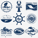 Set of vintage sea food logos Stock Images