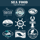 Set of vintage sea food logos. Royalty Free Stock Photo