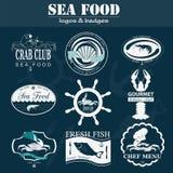 Set of vintage sea food logos. Royalty Free Stock Photo