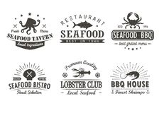 Set of vintage seafood, barbecue, grill logo Royalty Free Stock Photo