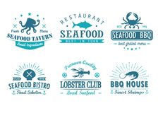 Set of vintage seafood, barbecue, grill logo templates, badges and design elements. Stock Images