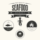 Set of vintage seafood  labels, badges and design  Stock Photos