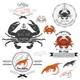 Set of vintage seafood labels and design elements. Set of vintage seafood labels, logo and design elements. Vector set illustration of crab, shrimp, fish Stock Images