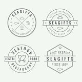 Set of vintage seafood restaurant linear logo, emblem and badge Royalty Free Stock Photography