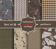 Set vintage seamless pattern for Halloween party Royalty Free Stock Photo