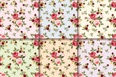 Set of vintage seamless patterns with roses. Vector eps-10. Royalty Free Stock Photos