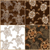 Set of vintage seamless patterns with turtles Royalty Free Stock Photography