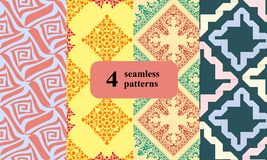 Set of vintage, seamless wallpapers. royalty free stock photos