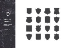 Set of Vintage Shield Shapes Royalty Free Stock Photos